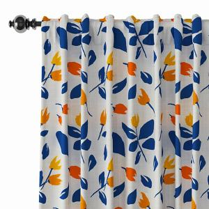 Floral Print Polyester Linen Curtain Drapery NORA