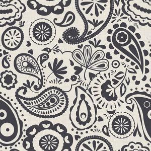 Paisley Print Polyester Linen Curtain Drapery IRIS