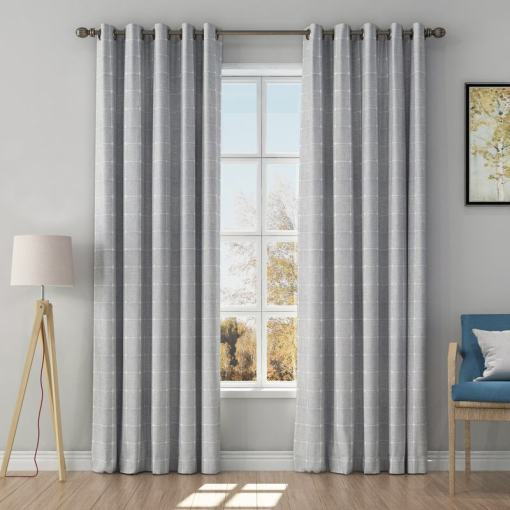 Solid Jacquard Diamond Curtain Drapery IMOGEN