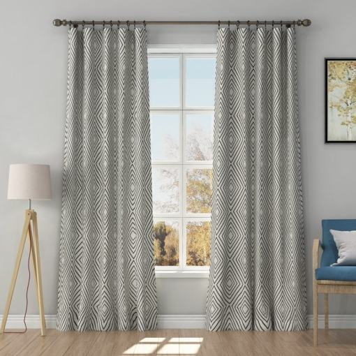 Solid Jacquard Diamond Curtain Drapery POSIE