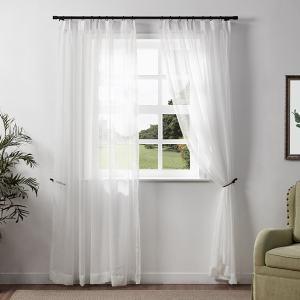 Sabina Slub Yarn Linen Looking White Tulle Curtain Sheer