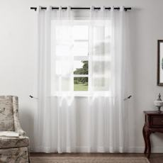 Sabina Slub Yarn Linen Looking White Tulle Curtain Sheer