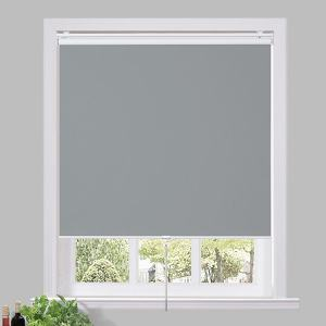 THOMAS 100% Blackout Blinds Shade Spring Cordless Roller Shade for Living Dining and Bedroom