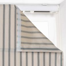 AMELIA Stripe Print Polyester Linen Room Darkening Roman Shade