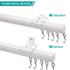 Ceiling or Wall Mounted Track Kit For Drapery Curtain Room Divider LORA