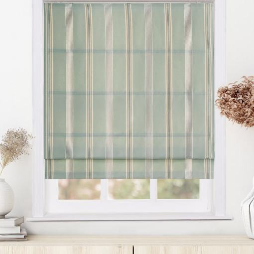 CLORIS Stripe Polyester Cotton Room Darkening Roman Shade