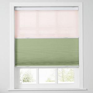 RAVEN Cordless Blackout TriShades Day/Night Honeycomb Shade with White Backing Pink Sheer