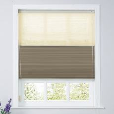ROPELYN Cord Lift Blackout TriShades Day/Night Honeycomb Shade Beige Sheer