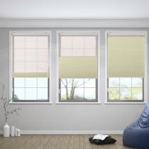 RAMESH Cord Lift Blackout TriShades Day/Night Honeycomb Shade with White Backing Pink Sheer