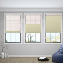 RAMESH Cord Lift Blackout TriShades Day/Night Honeycomb Shade with White Backing Pink Sheer