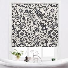 STELLA Paisley Print Polyester Linen Room Darkening Roman Shade