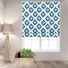 MARIAN Abstract Print Polyester Linen Room Darkening Roman Shade