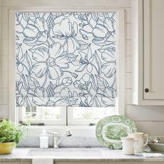 EMMA Floral Botanical Print Polyester Linen Room Darkening Roman Shade