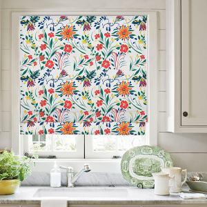 LOREN Floral Botanical Print Polyester Linen Room Darkening Roman Shade