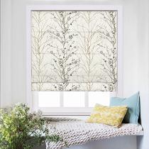 ASTRID Plum Blossom Print Polyester Linen Room Darkening Roman Shade