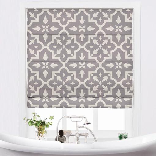 JOYCE Abstract Print Polyester Linen Room Darkening Roman Shade