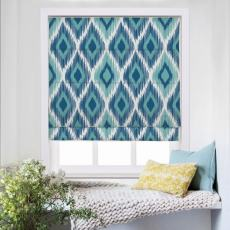 KATE Geometic Print Polyester Linen Room Darkening Roman Shade