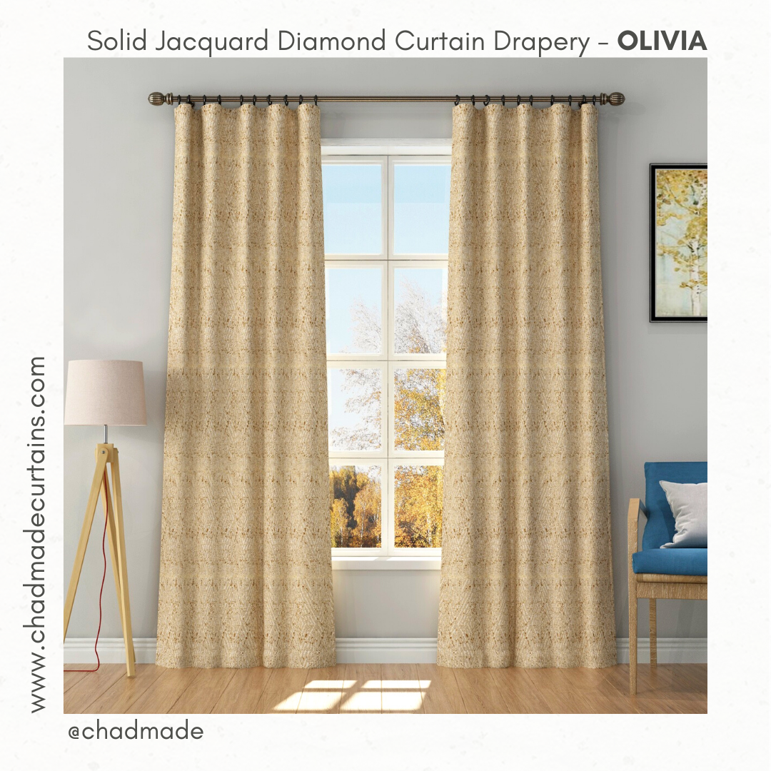 solid jacquard diamond solid curtain Olivia