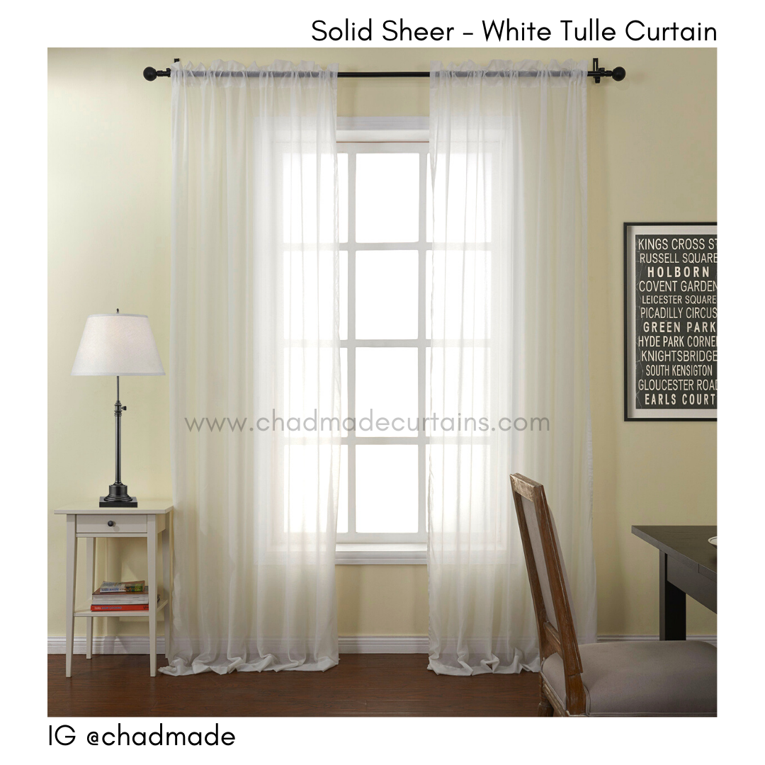 solid sheer white tulle curtain