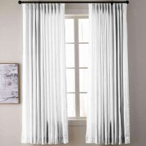 【Custom】YUN Vintage Textured Faux Dupioni Silk Drape Curtain Panel with White Blackout Lined,6 Colors