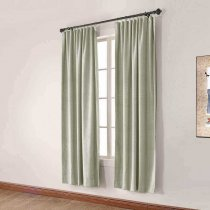 CUSTOM Olive Grey Green Luxury Textured Faux Linen Curtain