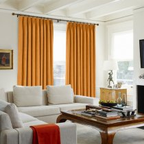 CUSTOM Kante Orange Polyester Cotton Drapery With Lining Curtains