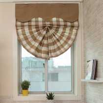 Plaid Print Polyester Cotton Roman Shade In Milk Tea