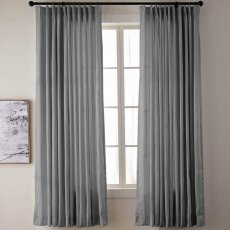 YUN Pinch Pleated Vintage Textured Faux Dupioni Silk Drape Curtain Panel with White Blackout Lined
