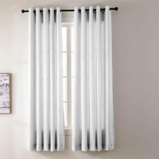 YUN Faux Dupioni Silk Drape Curtain Panel with White Blackout Lined, Antique Bronze Grommet