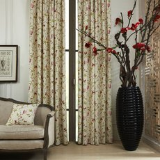 Botanical Flower Print Polyester Cotton Curtain Drapery CORA