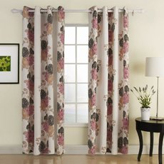 Polyester Cotton Blend Flower Printed Curtain Drape EVELYN
