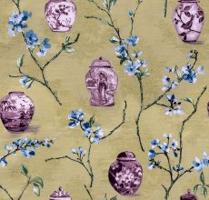 Amelia Plum Print Fabric Swatch Polyester Cotton, Refundable For Order Amount Over $399