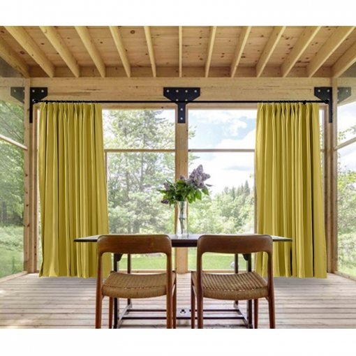 Pinch Pleated Outdoor Curtain For Track Or Traverse Rod With Ring, At Front  Porch,