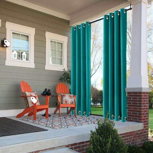 Outdoor Curtain with Top Bottom Aluminum Grommet Waterproof and Mildew Resistant Panel Drapery