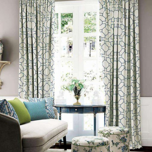 Geo Print Tab Top Drapes Modern Desinger Home Curtains With Blackout Lining (1 Panel), Lourve Collection