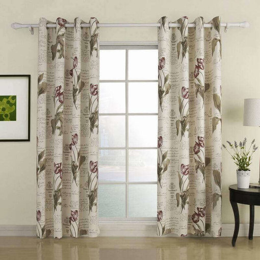 Nickel Grommet Polyester Cotton Blend Flower Letter Printed Blackout Lined Curtain Drapes