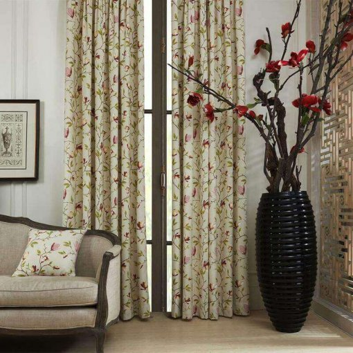 Grommet Botanical Flower Print Polyester Cotton Curtain Drapery With Blackout Lining