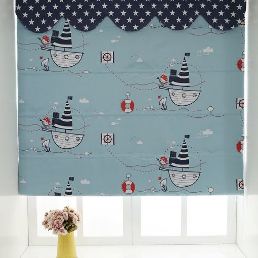 Cartoon Print Polyester Roman Shade In Blue