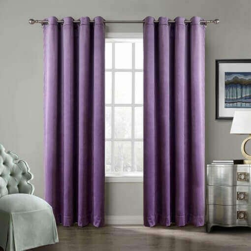 Nickel Grommet Velvet Curtain Drape Panel with Blackout Lined Birkin