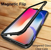 Clear Tempered Glass Magnetic Adsorption Case for iPhone X 7 8 Plus