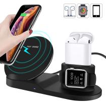 3 in 1 Wireless Charger,10W Qi Fast Phone Wireless Charger Stand