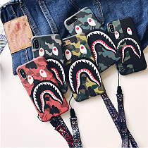 Camouflage Shark Mouth Iphone Case iPhoneX Matte Creative Lanyard Tpu