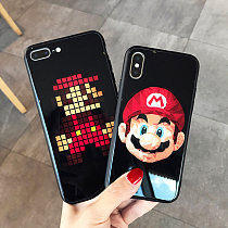 Mario Apple iPhoneX Glass Phone Case Creative Lanyard