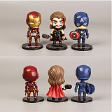6 superhero hand-made Avengers 3 model doll Q version Iron Man Spider-Man ornaments
