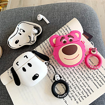 Cute strawberry bear Snoopy Airpods case cartoon silicone Apple Wireless Bluetooth Headset  Airpods1/2