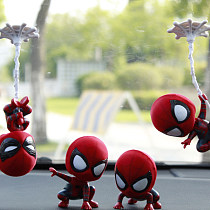 Q version of the extraordinary spider man Garage kit shaking head doll car decoration model
