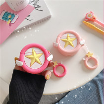 Cartoon Cardcaptor Sakura AirPods Case Pink Star Angel Wing Silicone Apple Airpods cover