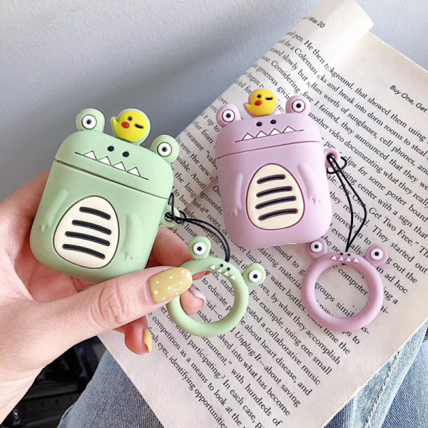 3D Cartoon Dinosaur AirPods Case Ring Strap Frog Silicone Earphone Cover