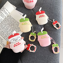 3D Bottle Milk Apple Airpods Case Cartoon Silicone Earphone Headphones Ring Strap Protective Cover
