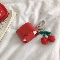 Red leather cherry Airpods case Apple Bluetooth headset cherry pendant anti-fall earphone shell